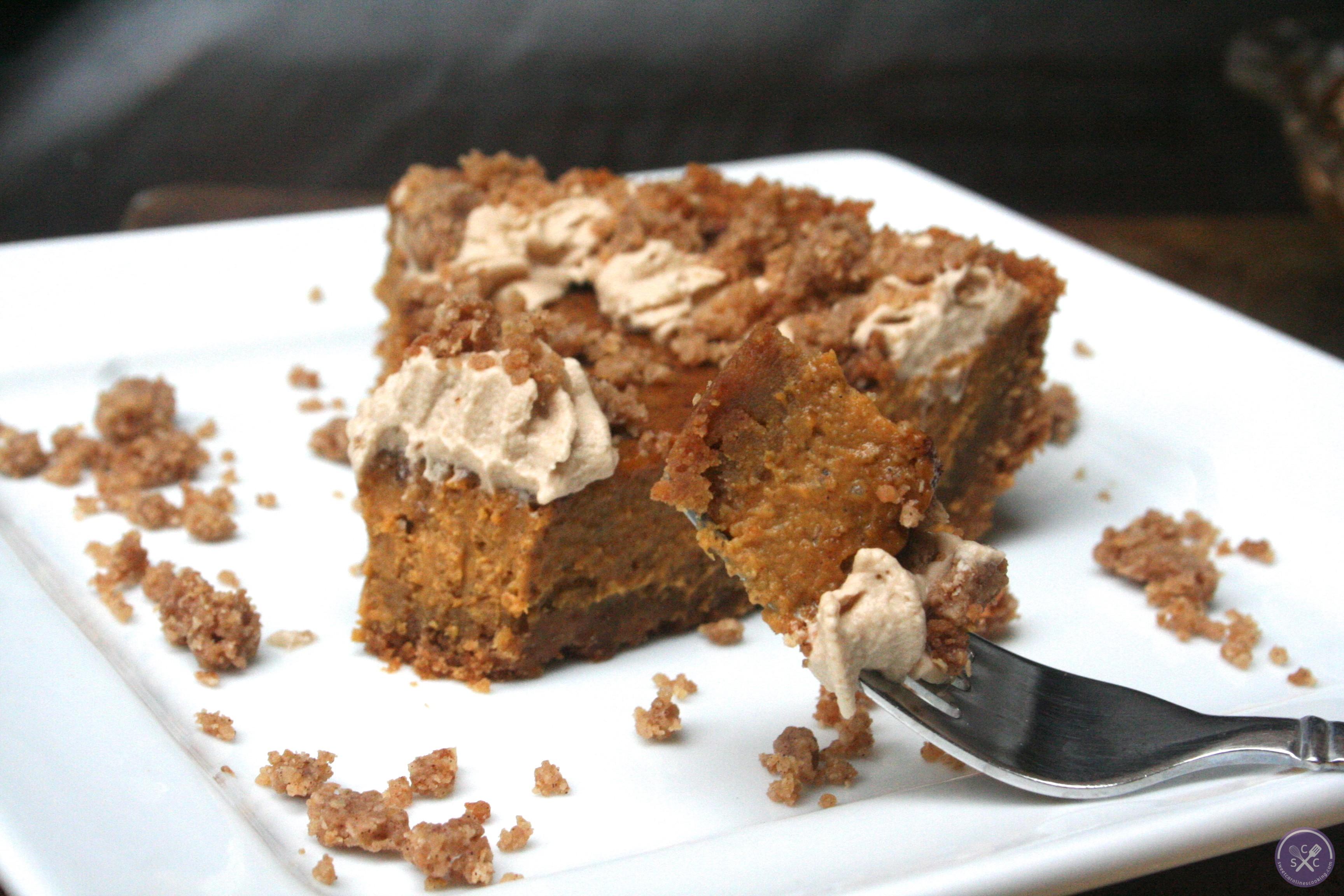 pumpkin pie w. graham cracker crust, cinnamon crunch & bourbon-maple ...