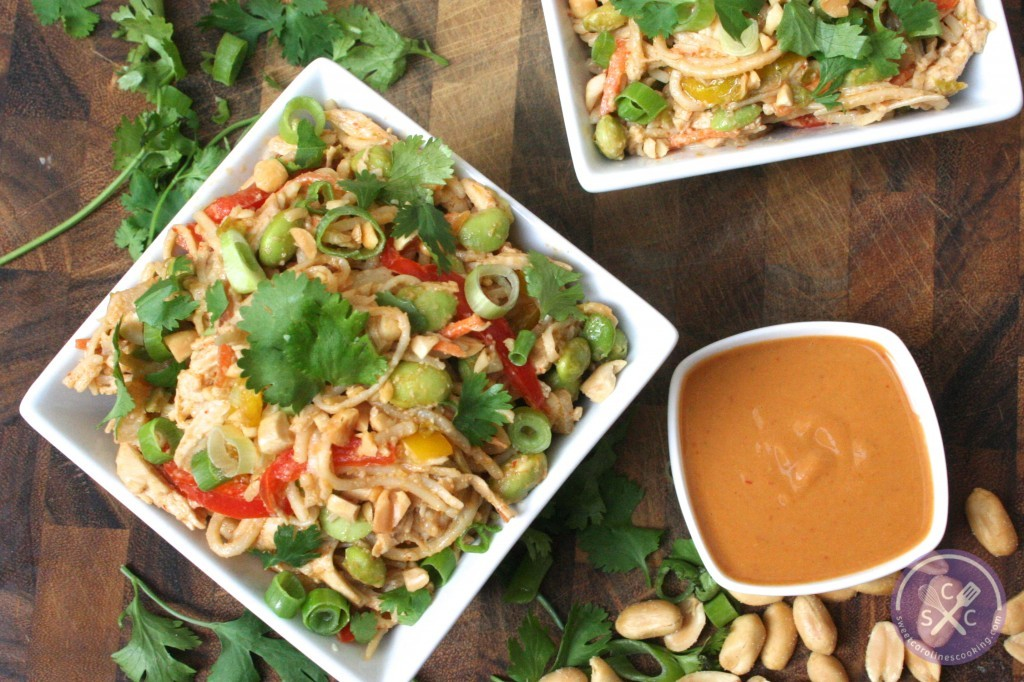 here. [soba noodle salad w. spicy peanut sauce, shredded chicken ...