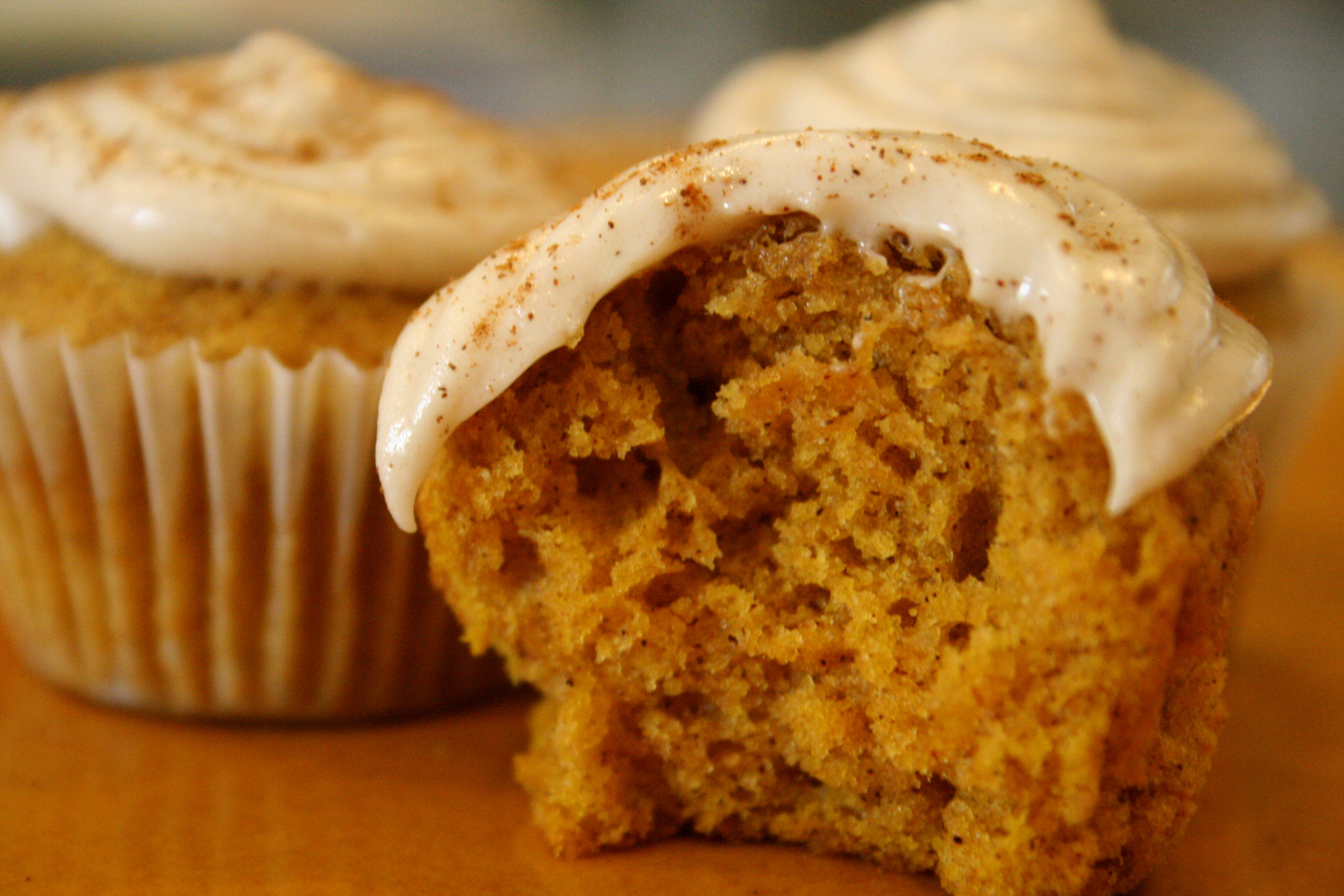 . [mini pumpkin muffins w. maple cinnamon cream cheese frosting ...