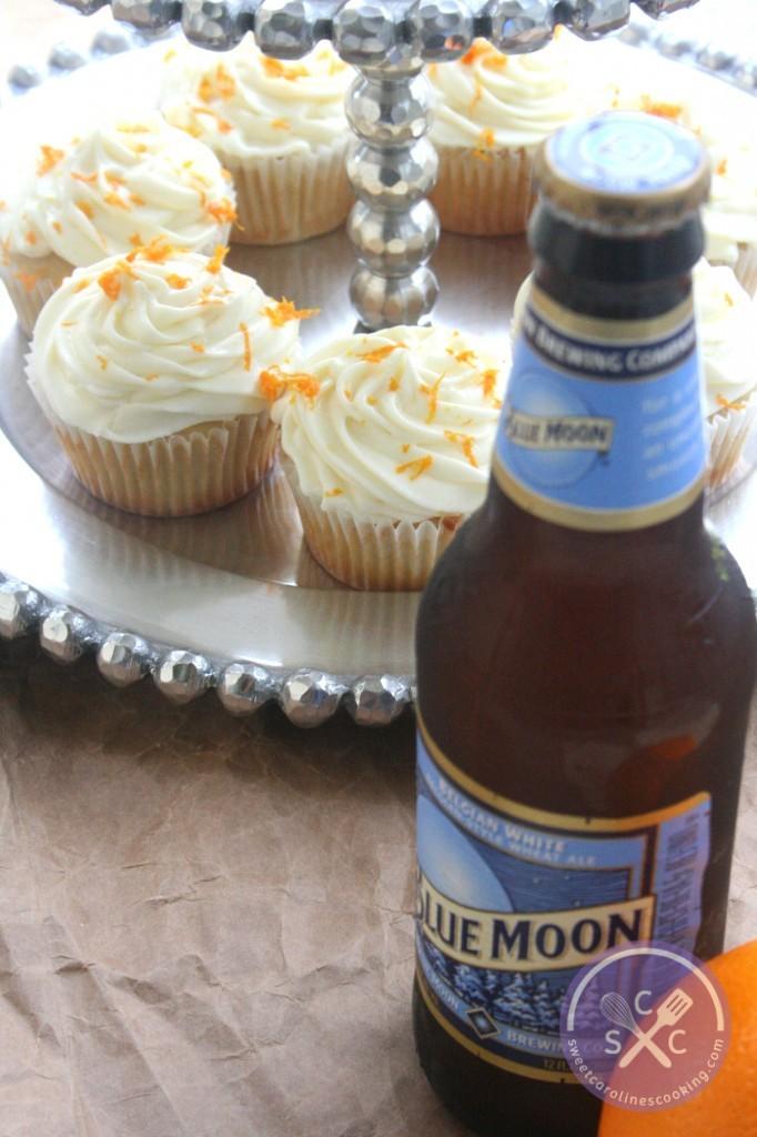 perfect pair. [Blue Moon cupcakes w. orange cream cheese ...